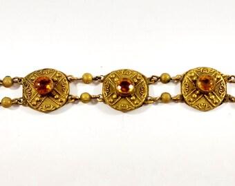 Buttons #D235-24 Carat GOLD EDGE 1920/'s 12 Czech Glass ANTIQUE