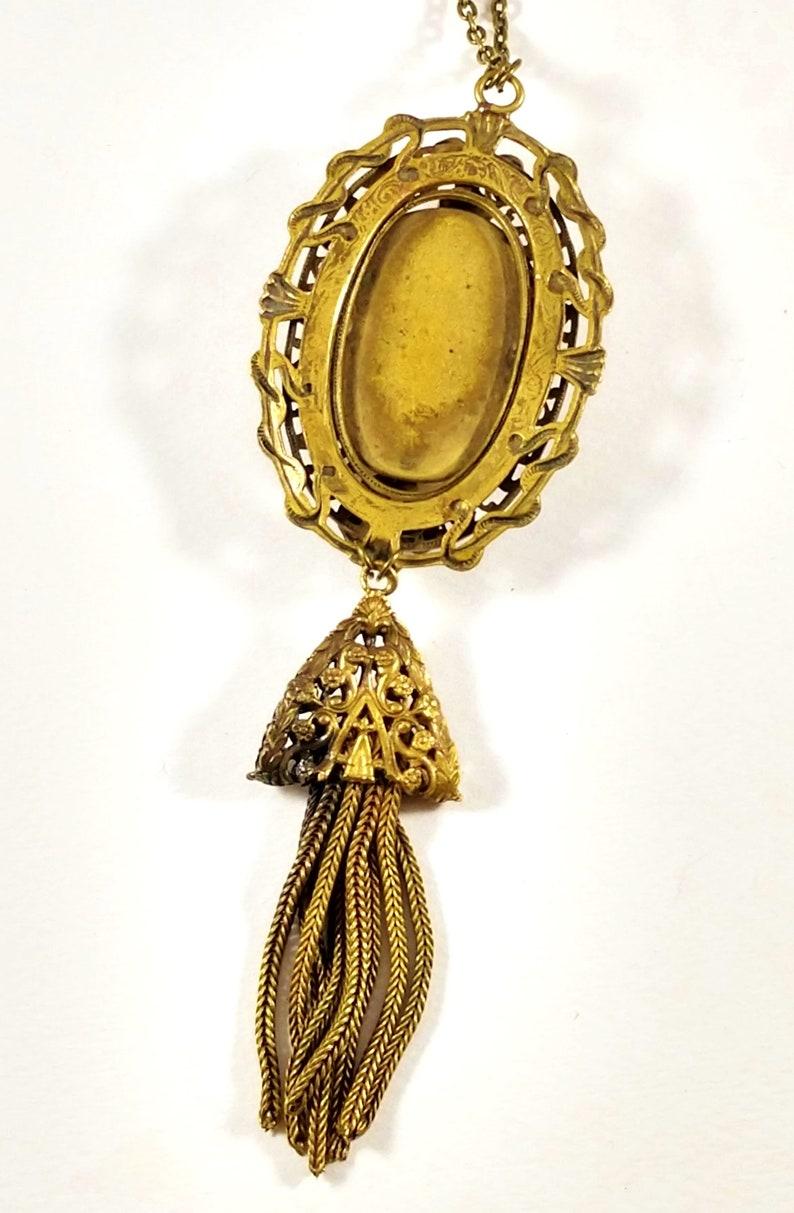 1930/'s Czech Glass Necklace in Brass