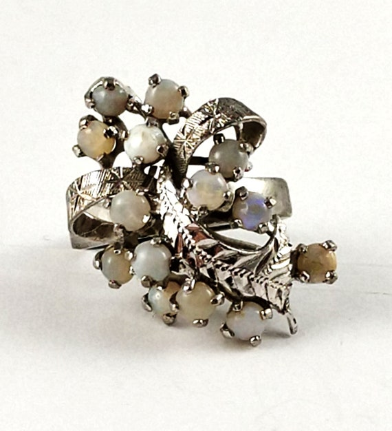 Vintage Opal Cocktail Ring in Sterling Silver, 19… - image 1