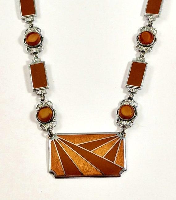 Vintage Art Deco Enamel Necklace, 1920's