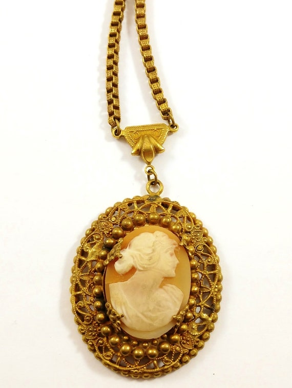 Vintage Cameo Necklace, 1930's
