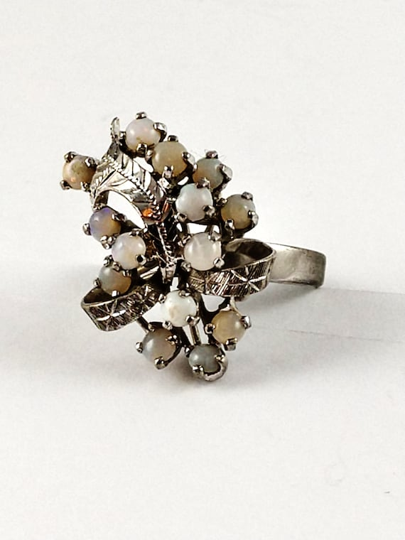 Vintage Opal Cocktail Ring in Sterling Silver, 19… - image 5