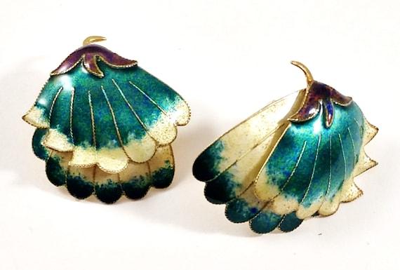 Mid-Century Enamel Earrings in Sterling Silver, 19