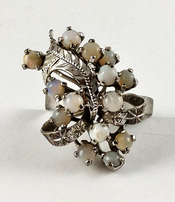 Vintage Opal Cocktail Ring in Sterling Silver, 19… - image 4