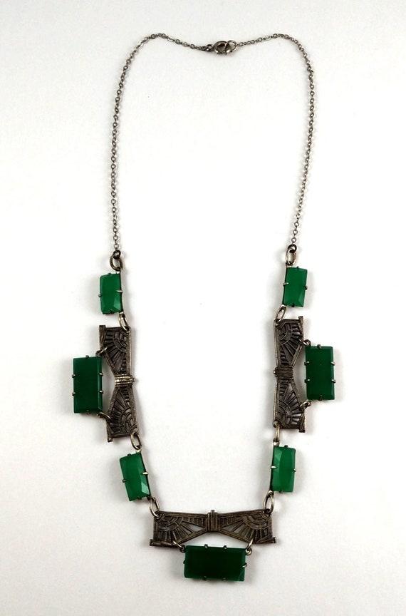 Art Deco Czech Glass Necklace, 1920's