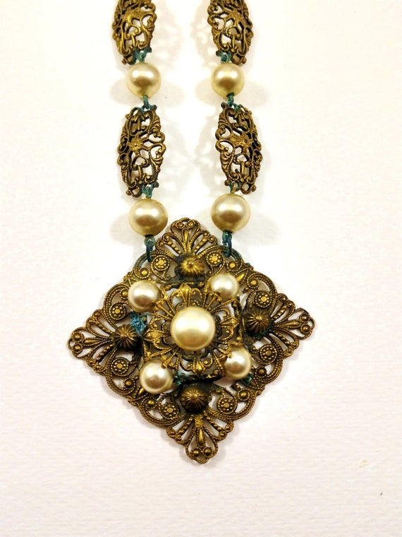 Art Nouveau Brass and Pearl Necklace, 1930's