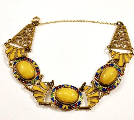 Art Deco Enamel Bracelet, 1920's