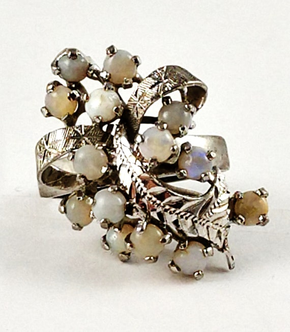 Vintage Opal Cocktail Ring in Sterling Silver, 19… - image 2