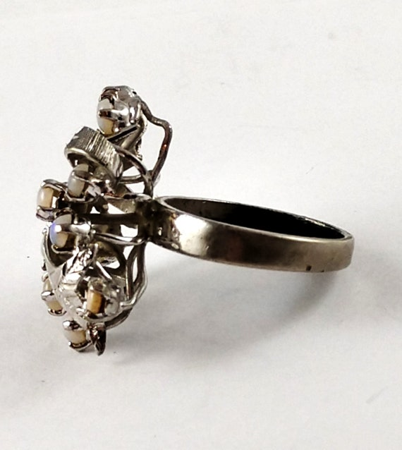 Vintage Opal Cocktail Ring in Sterling Silver, 19… - image 3