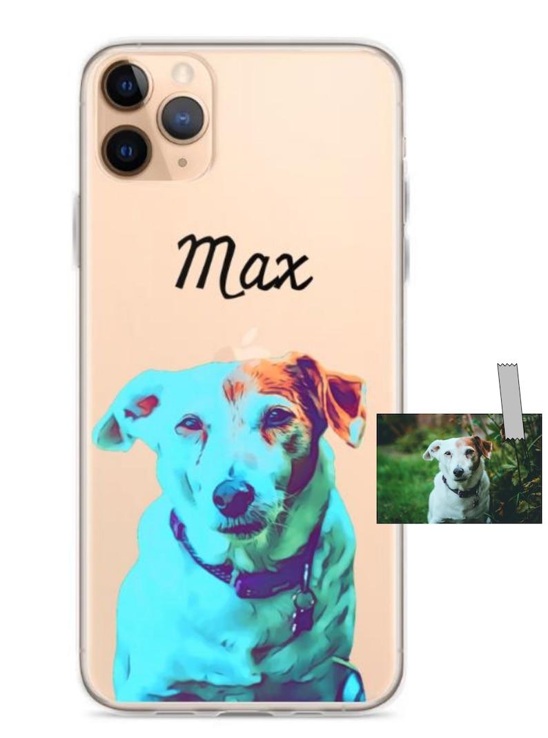 Clear case Cartoon art iPhone Case \u2022 Polycarbonate material \u2022 Customized \u2022 Pet loss \u2022 Memorial gift \u2022 Custom Pet Portrait