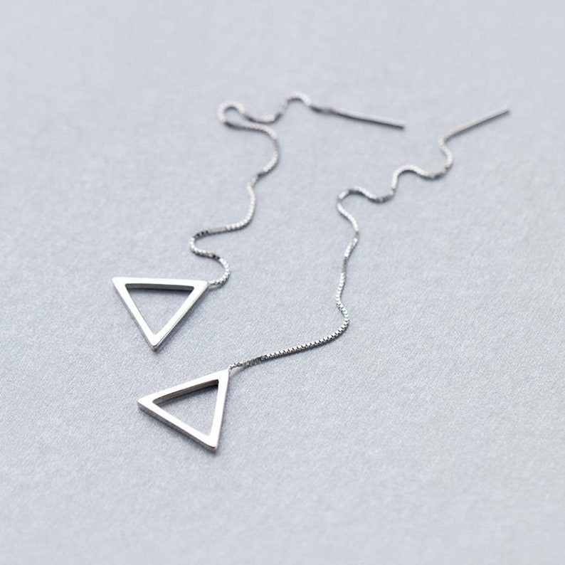 Triangle Geometric 925 Sterling Silver Threader Earrings