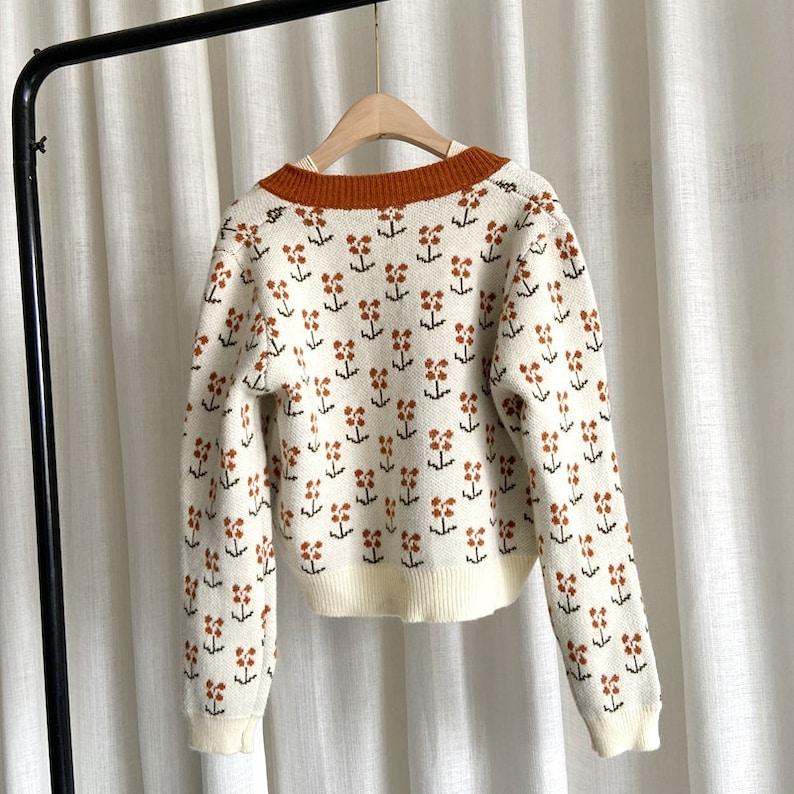 Flower Sweater Cardigan Long Sleeve