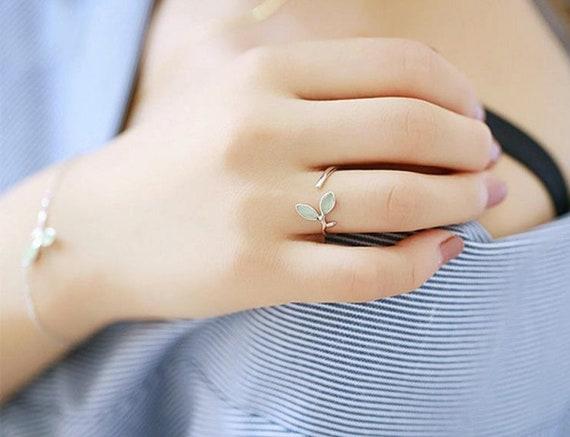 Women 925 Silver Leaf Vein Jewelry Wedding Finger Ring Open Size Adjustable