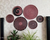 set of 6 wicker wall baskets, african plates