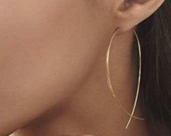 Open Hoop Threader Earrings simple holiday gift idea Copper minimalist modern trendy 4057 Sterling Silver contemporary fish-shaped