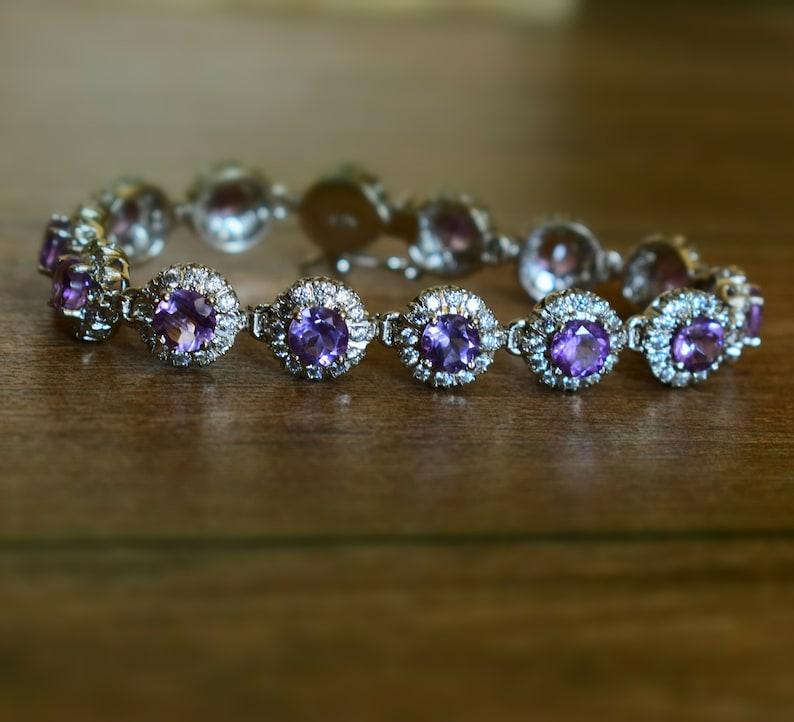 Purple Stone Bracelets Natural Amethyst Bracelets C.Z Bracelets Natural Amethyst 5mm Round Faceted Silver Bracelet With C.Z Studded