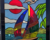 Stained Glass RV Door Window-Sailboat RV Stained Glass Door Window-RV Window-Camper Window-Camper Stained Glass-Sailboat Stained Glass Door