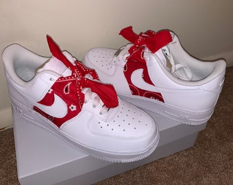 Nike Air Force One 1 Low Custom Red Bandana Men's White | Etsy