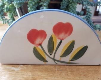 Vintage Ceramic Napkin Holder, Hand Painted Floral Napkin Holder