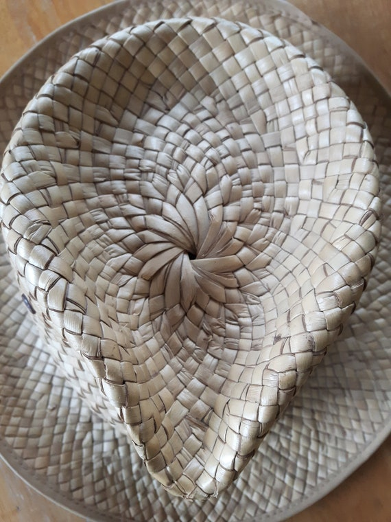 Vintage Hand Woven Palm Leaf Stetson Style Hat, H… - image 5
