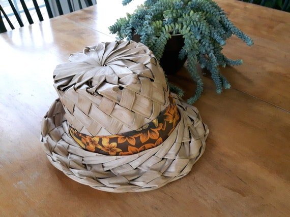 Hand Woven Palm Frond Hawaiian Beach Hat, Vintage
