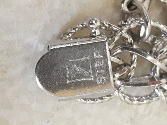 Vintage Sterling Silver Charm Bracelet with 14 Ch… - image 2