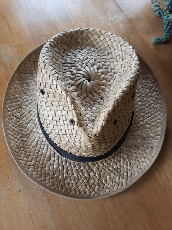 Vintage Hand Woven Palm Leaf Stetson Style Hat, H… - image 2