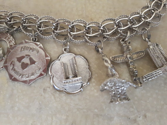 Vintage Sterling Silver Charm Bracelet with 14 Ch… - image 8