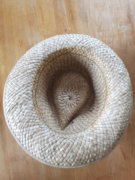 Vintage Hand Woven Palm Leaf Stetson Style Hat, H… - image 3