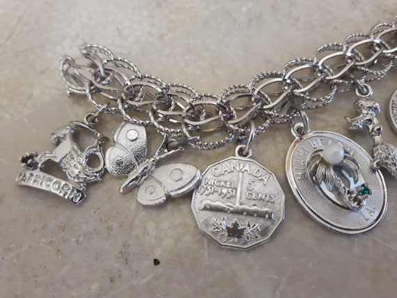 Vintage Sterling Silver Charm Bracelet with 14 Ch… - image 6