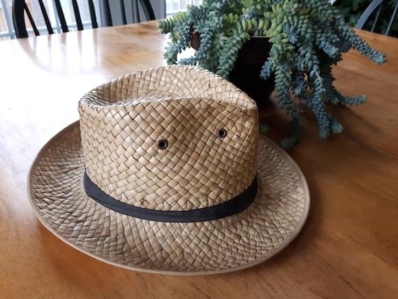 Vintage Hand Woven Palm Leaf Stetson Style Hat, Ha