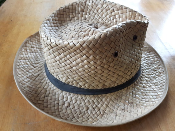 Vintage Hand Woven Palm Leaf Stetson Style Hat, H… - image 4