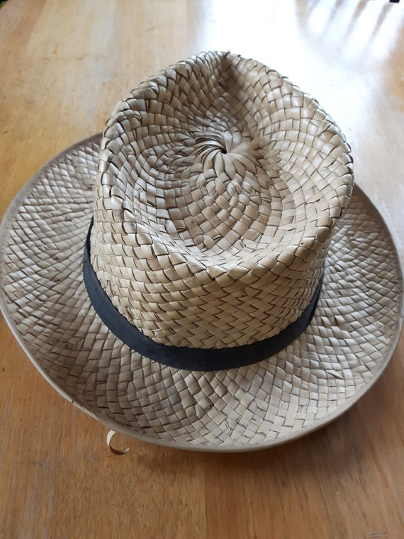 Vintage Hand Woven Palm Leaf Stetson Style Hat, H… - image 8