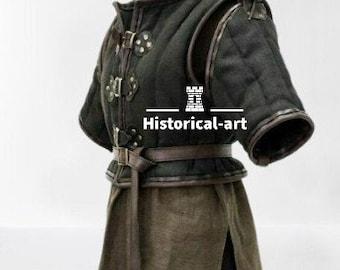 Medieval Costume Gambeson Reenactment Roman Black Color