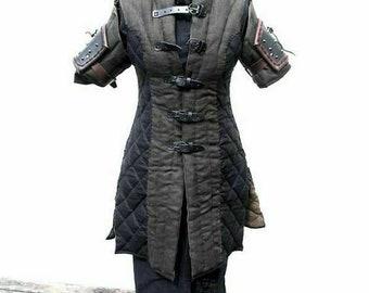 Medieval Costume Gambeson Reenactment Roman Black Color Good Look