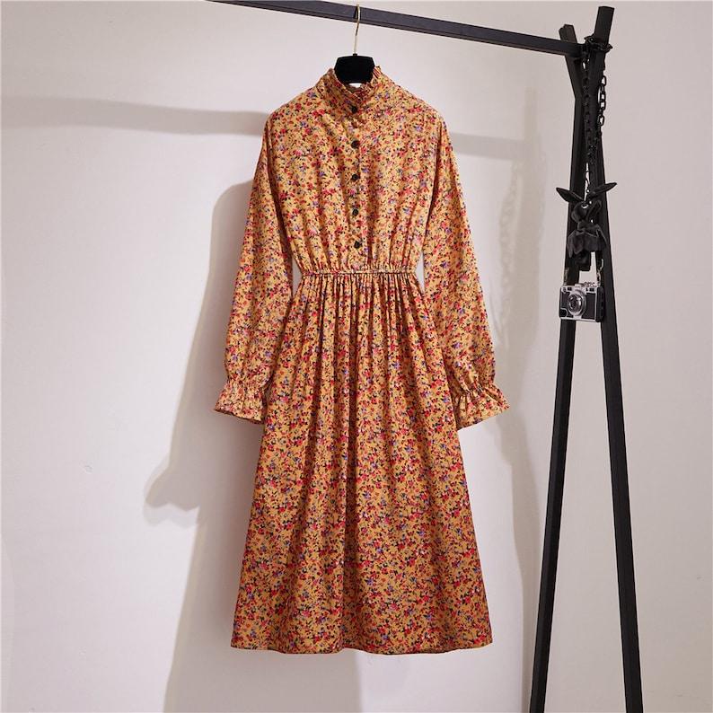 Orange Flower Floral Button Vintage Retro Women Dress
