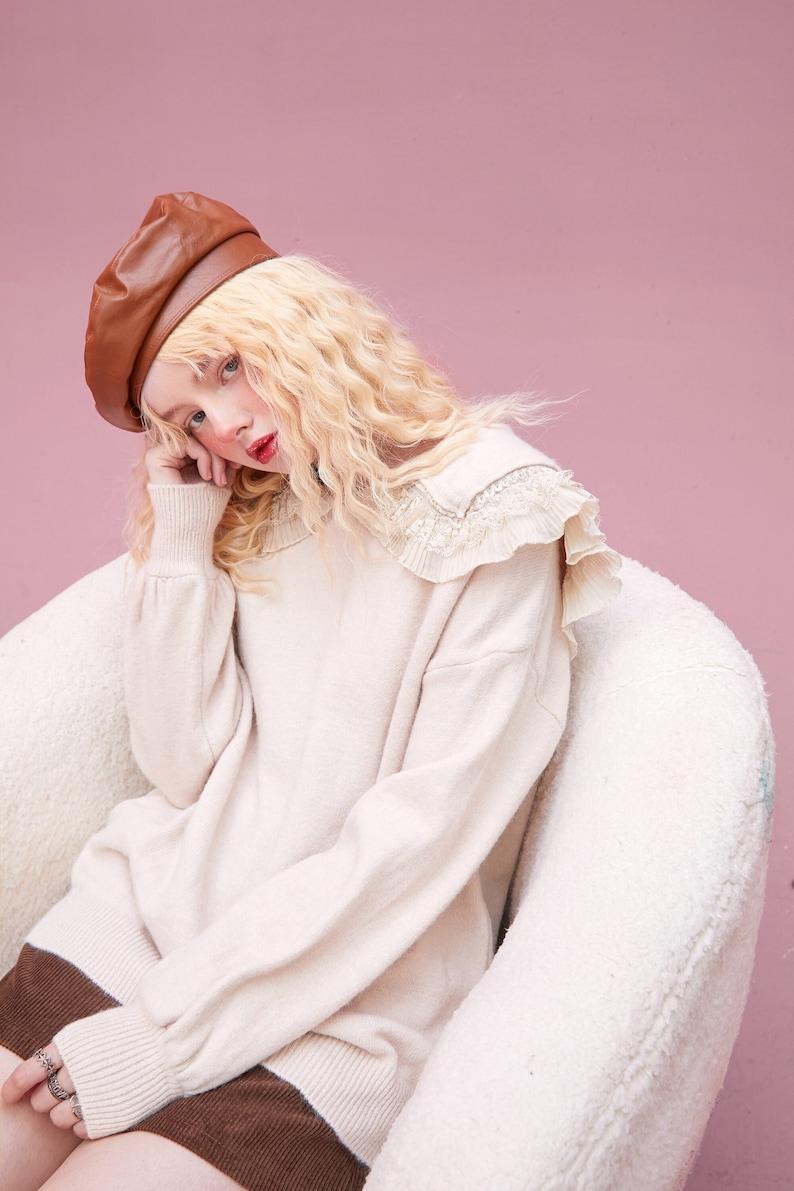 Ruffles Lace Sweater Jumper Long Sleeve