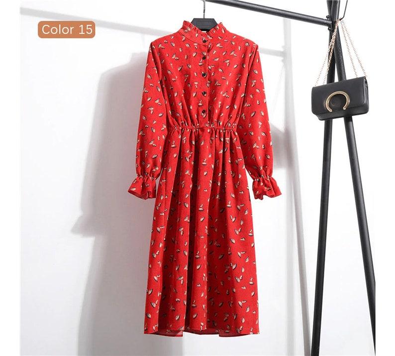 Red Flower Floral Button Vintage Retro Women Dress