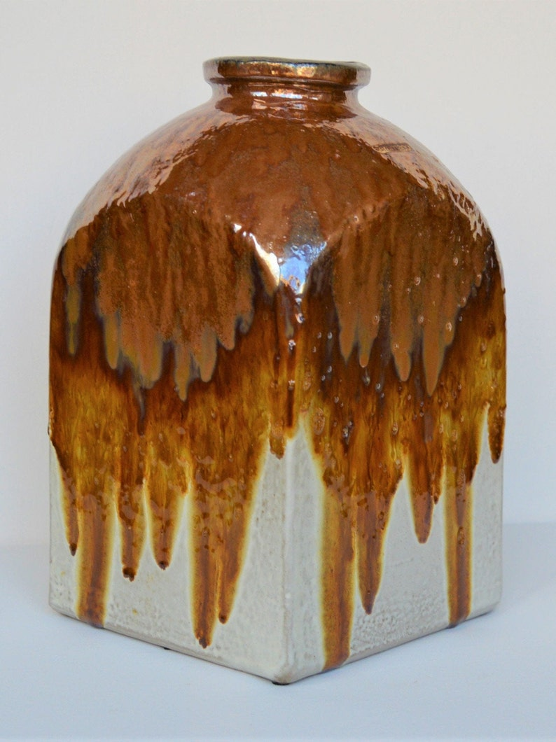 21 /& 29 cm tall Pair of Ceramano Mendoza vases West Germany 1970s