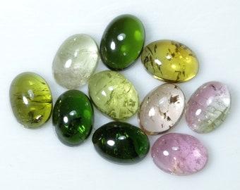 9 Pieces 7X5 MM Pear Shape Natural Bi-Color Tourmaline Cabochon Calibrated Gemstone Wholesale Lot 5X7 MM Pear Bi-Color Tourmaline Cabs