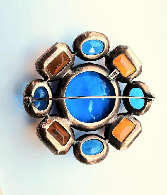 Vintage YSL Yves Saint Laurent Glass Flower Brooch - image 3