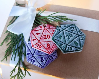 D20 dice ornaments or gift tags!