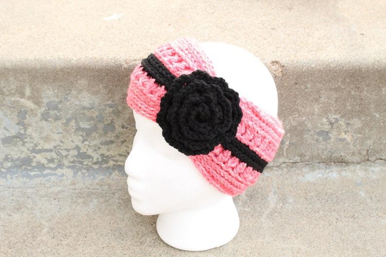 Adult-Ear warmer Headband-Coraline /& Black with flower