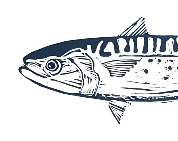 Limited Edition Lino Print of Mackerel. Fish, Fishing, Cornwall, Coast, Food and Drink