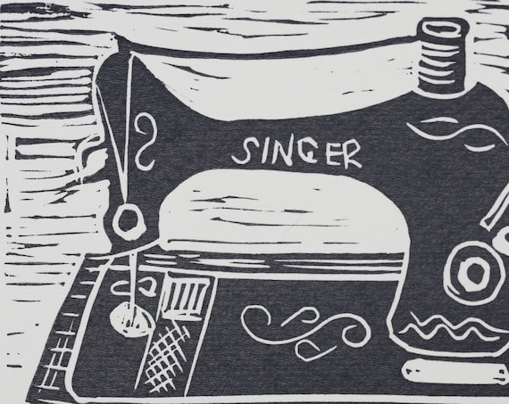 Handprinted Lino Print Greeting Card 'Singer Sewing Machine'