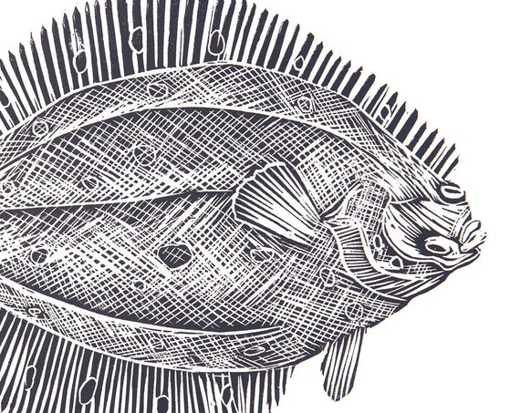 Limited Edition Lino Print 'Plaice'. Food & Drink, Kitchen, Coastal, Cornwall, Cornish