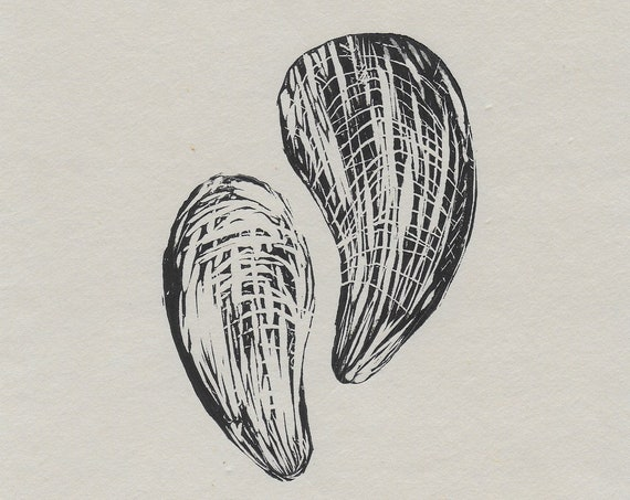 Limited Edition Lino Print of Mussels, Seafood, Kitchen, Cornwall