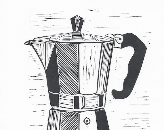 Limited Edition Lino Print of a Vintage Moka Espresso Pot. Coffee Lover, Cafe Culture, Kitchen