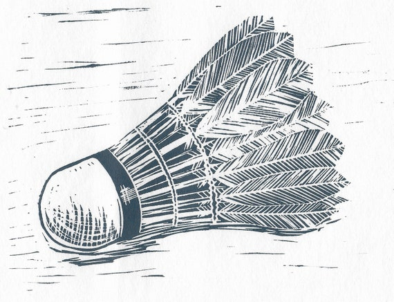 Limited Edition Lino Print of a Shuttlecock, Badminton, Sports
