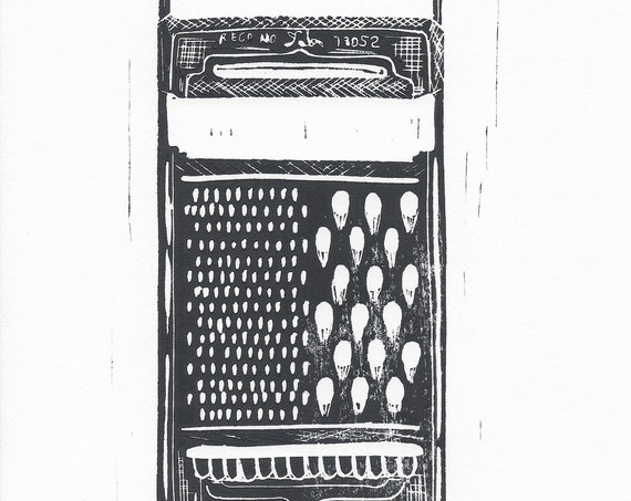 Limited Edition Lino Print of a Vintage Tala Grate. Kitchen, Cheese, Food & Drink